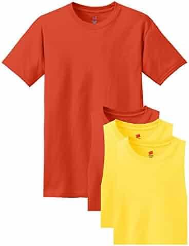 Hanes mens 5.2 oz. ComfortSoft Cotton T-Shirt(5280)-Orange/Yellow-XL-2PK