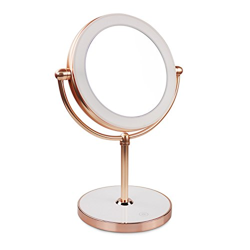 Vanity Mirror with LED lights,Natural Lighted Cosmetic Mirror with 7X Magnification,360 Degree Swivel,Rose Gold by THE D&B CRAFTS LLC (Image #8)
