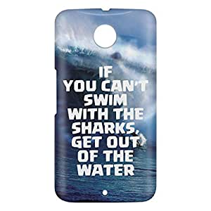 Loud Universe Motorola Nexus 6 3D Wrap Around If You Cant Swim With Sharks Print Cover - Blue