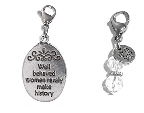Hidden Hollow Beads Clip On Charm, Bag, Purse, Handbag, Message, Keychain, Zipper Pull, Bracelets, Necklaces, Jewelry (Well Behaved Women Rarely Make History) ()