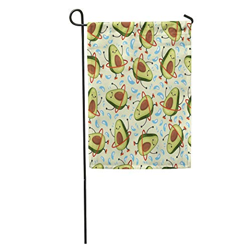Semtomn Garden Flag Avocado Pattern Cute Fruit Character Doing Exercises Hula Hoop Eating Home Yard House Decor Barnner Outdoor Stand 28x40 Inches Flag