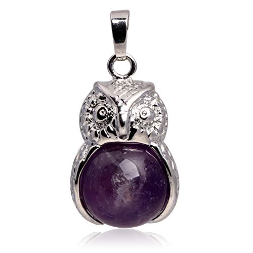 GEM-inside 18X35MM Cleaver Owl Animal Round Purple Amethyst Stone Pendant Leather Necklace Fashion Jewelry 18 Inches Assorted ()