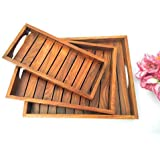 WOOD ART STORE Wooden Serving Tray (Brown) - Set of 3