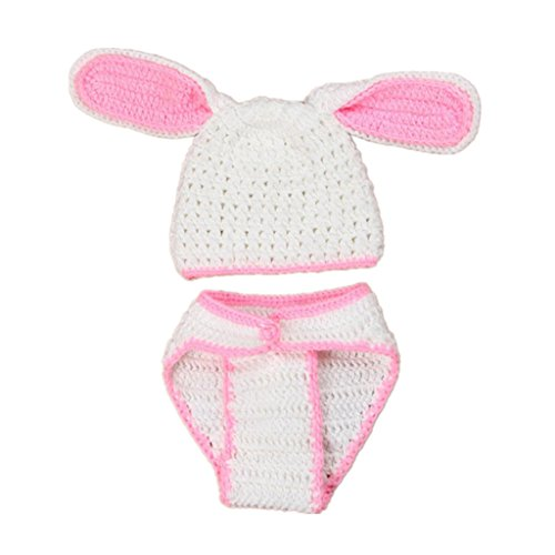 XILALU Newborn Baby Rabbit Crochet Knitted Costume Set Photography Prop Outfits (Halloween Costume For One Year Old)