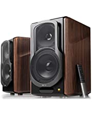 Edifier S2000MKIII 2.0 Actieve Bluetooth-rek-luidspreker, drievoudige versterker, 130 watt studiomonitorluidspreker voor audiofiele met draadloze lijnin- en optische ingang, hout