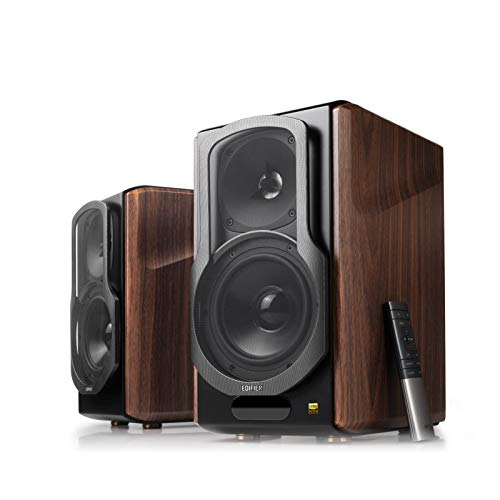 Edifier S2000MKIII Powered Bluetooth Bookshelf 2.0 Speakers - Near-Field Active Tri-Amped 130w Studio Monitor Speakers for Audiophiles with Wireless, Line-in and Optical Input