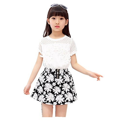 FTSUCQ Girls Shirt Top with Snowflake Skirt,Two-pieces Sets,160 (Cute 11 Year Old Guys)