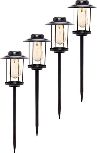 GreenLighting 4 Pack Solar Path Lights - Industrial Style Rectangular Stake Light w/Edison Bulb by (Black) (Light Path Solar Style)