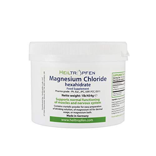 1 Pound Magnesium Chloride, Hexahydrate, Pharmaceutical Grade, Crystal Powder, Pure Ph. EUR, BP, USP, 100% - Heiltropfen®