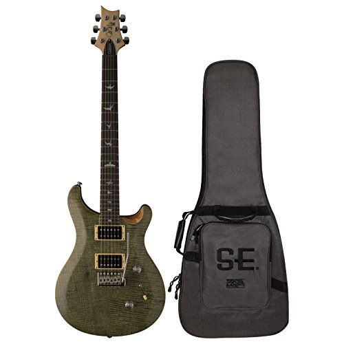 (PRS Paul Reed Smith SE Custom 24 Electric Guitar with Gig Bag, Trampas Green)