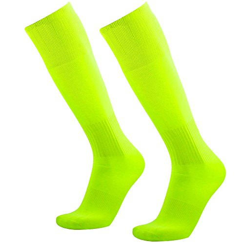Neon Yellow Socks, 3street Unisex Solid Over-The-Calf Athletic Team Performance Socks for Soccer Baseball Yellow 2 Pairs -