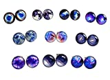 LilMents 10 Pairs Unisex Galaxy Universe Astronomy World Stainless Steel Stud Earrings (Best Sellers)