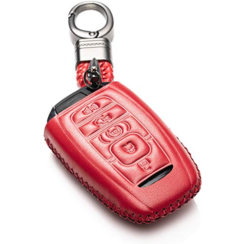 (Vitodeco Genuine Leather Keyless Smart Key Fob Case Cover Protector with Leather Key Chain for 2017-2019 Lincoln Continental, MKC, MKZ, MKX, 2018-2019 Lincoln Navigator (5 Buttons,)
