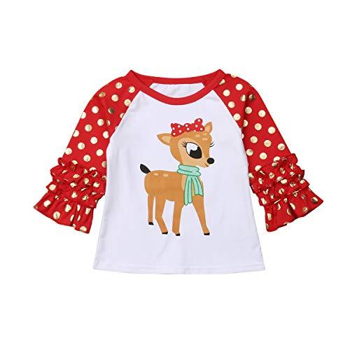 St. Patricks Day Toddler Kids Baby Girls Unicorn Print Long Sleeve Ruffle Polka Dot Cotton T-Shirt Tops Clothes