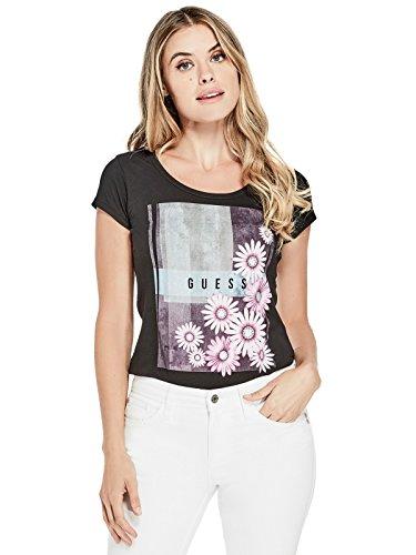 GUESS Factory Women's Mina Floral Logo (Glitter Floral Tee)