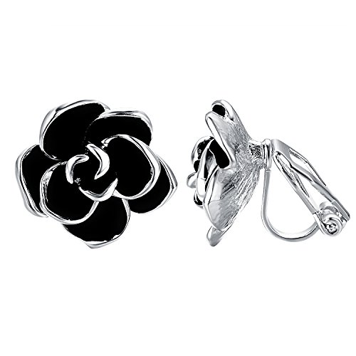 Rose Pierced Earrings - Yoursfs Non Pierced Earrings for Women Black Rose Flower Gorgeous Enamel Earrings