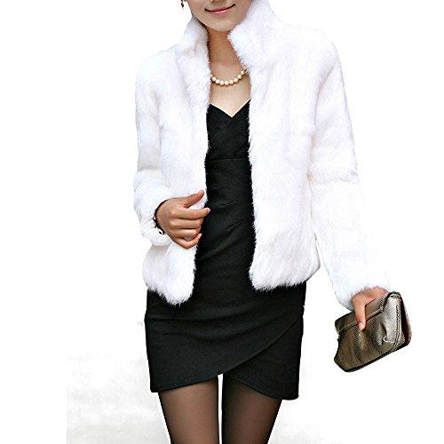 - Toimoth Rabbit Fur Coat - Women Winter Knit Real Fur Jacket Outwear with Pocket(White,2XL)