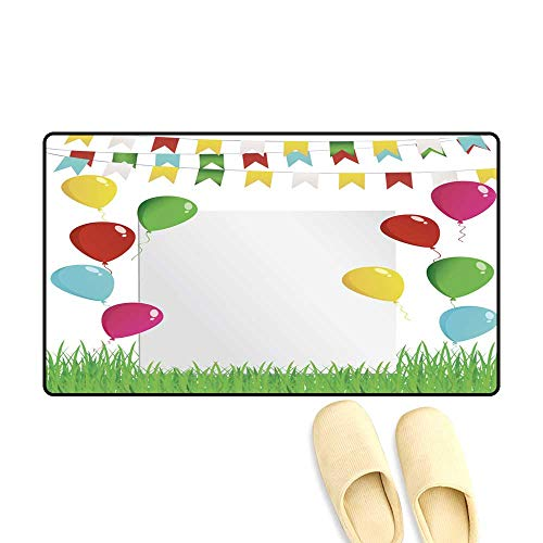 doormatGreeting Card or Invitation for a Holiday Green Grass and Garland of Colorful Flags and Flying Balloons Vector Free Form for Text Outdoor Doormat 40x60cm