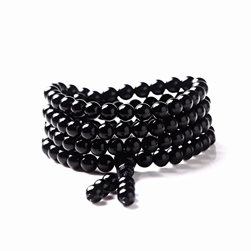 Beaded Bracelet Obsidian (Bogo Arty Men Women 108 Obsidian Crystal Prayer Bead Multilayer Stretch Bracelets Tibetan Buddhist Meditation Mala Beads Bracelet Necklace)