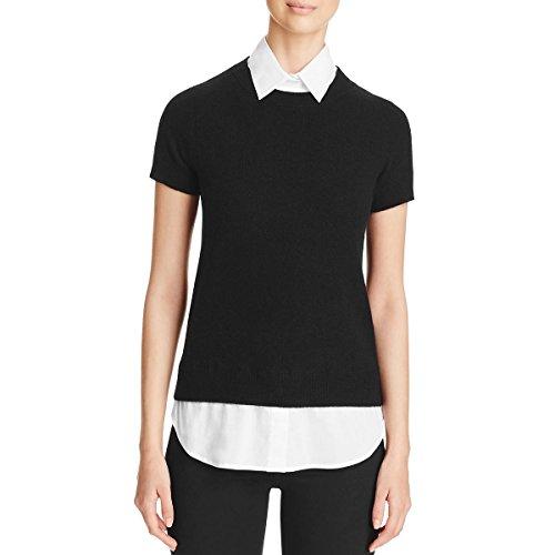 Private Label Womens Cashmere Collared Pullover Sweater Black (Black Label Cashmere Sweater)