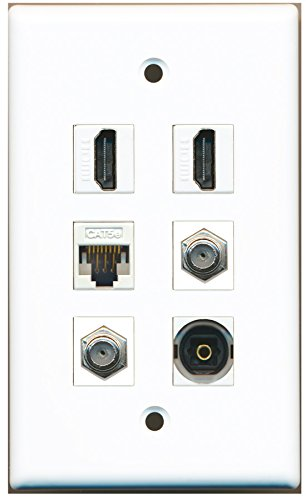 RiteAV - 2 HDMI 2 Port Coax Cable TV- F-Type 1 Port Toslink 1 Port Cat5e Ethernet White Wall Plate