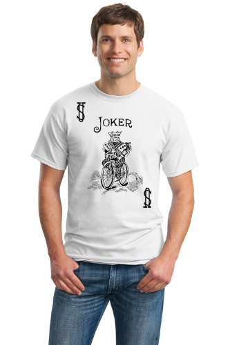 JOKER CARD Unisex T-shirt / Card Costume Tee Shirt, Magic Trick Tee-White-XX-Large