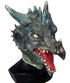 The Rubber Plantation TM 619219293297 - Máscara de dragón de látex verde, diseño de cabeza