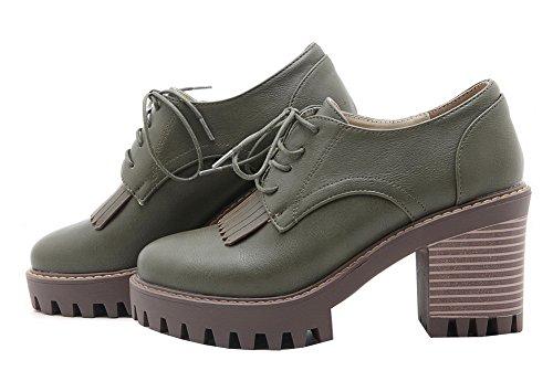 Amoonyfashion Femmes Talons Hauts Pu Solide Lacets Ronds Bout Fermé Pompes-chaussures Armée Vert