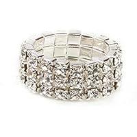 Creative Toe Ring Rhinestone Elastic Finger Ring Tone 3 Row Crystal WelcomeShop