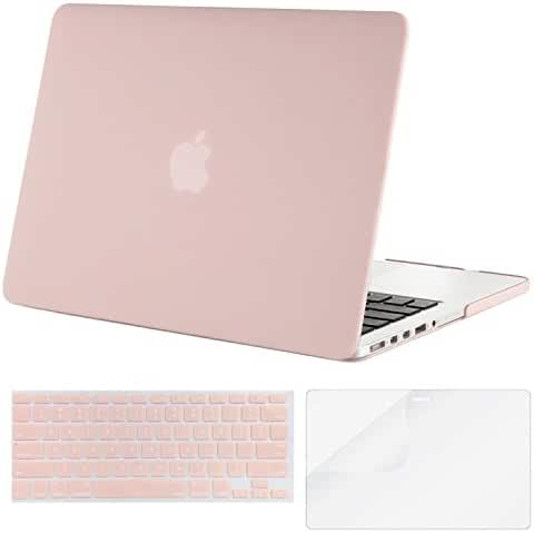 Mosiso Plastic Hard Case with Keyboard Cover with Screen Protector for Old MacBook Pro Retina 13 Inch No CD-ROM (A1502/A1425), Rose Quartz