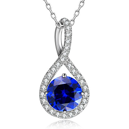 Caperci Valentines Day Gift for Her Created Blue Sapphire Halo Infinity Pendant Necklace in Sterling Silver, 18''