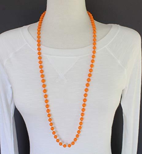 Plastic Set Necklace - Orange necklace earrings set beaded faux pearl plastic 36 long 7mm bead size