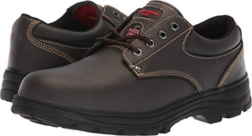 Skechers Work Workshire Tydfil ST Steel Toe Mens Oxfords Brown 10.5 Brown Shoe Steel Toe Oxfords