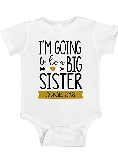 Baby Girls' I'm Going to be a Big Sister Shirt or Bodysuit | Custom Date in Banner (White/Gold, 12 Month Bodysuit)