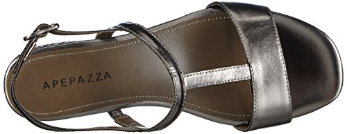 Apepazza Eva Metal - Zapatos de Talón Abierto Mujer Gris - Grau (PEWTER)