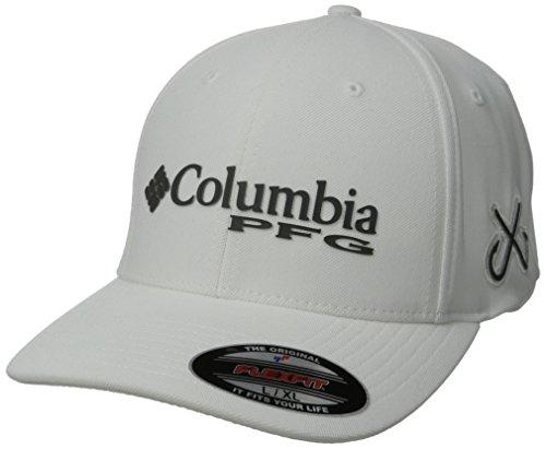 Columbia PFG Mesh Pique Ball Cap, White/Double Hook, Large/X-Large (Double White Mesh Cap)