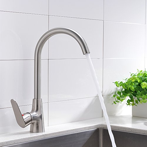 Lowest Prices! VCCUCINE Stainless Steel Brushed Nickel Kitchen Bar Sink Faucet, Single Handle 360 De...
