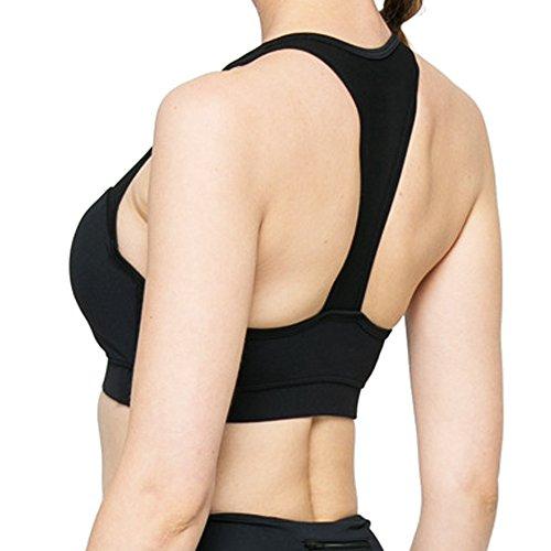 RoxZoom Soutien-Gorge Sportif pour Femme,Soutien-gorge de Yoga Ergonomique en Maille à Faible Impact avec Tasses Rembourrées Amovibles, Taille-L, Noir