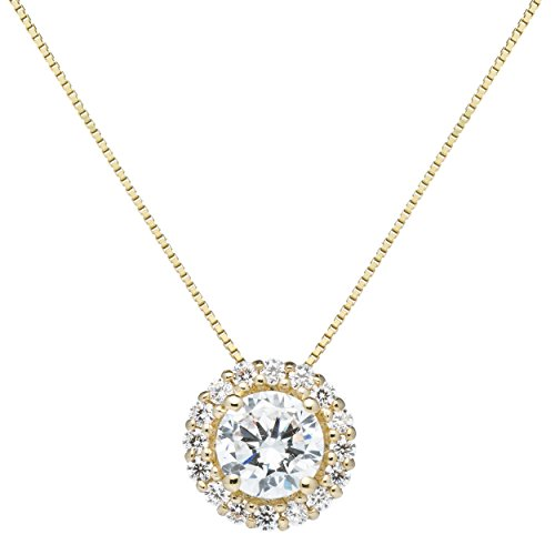 Everyday Elegance | 14K Solid Yellow Gold Pendant Necklace | Round Halo Cubic Zirconia Solitaire | 1.0 ct center, 1.24 cttw | 16 inch .60mm Box Link Chain | With Gift Box 14k Yellow Gold Pendant Necklace