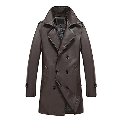 Modern Fantasy Mens Business Suit Collar Trench Leather Coat Long Jacket Size US Coffe L