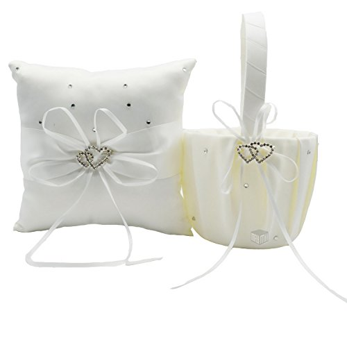 MAYMII 2 Heart Rhinestones Ivory Satin Flower Girl Basket and Ring Pillow Set, Ivory (White)