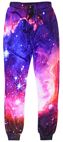 Uideazone Fashion juniors 3D Printed Star Galaxy Sports Joggers Pants Sweatpants 1 Large