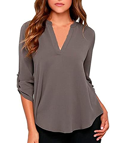 Smartprix Women's Summer V Neck Solid Loose Casual Cuffed Long Sleeve Blouses X-Large Black Grey (Long Sleeve Office)
