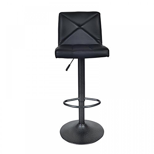 Black 2 PU Leather Modern Adjustable Swivel Barstools Hydraulic Chair Bar Stools by BestOffice