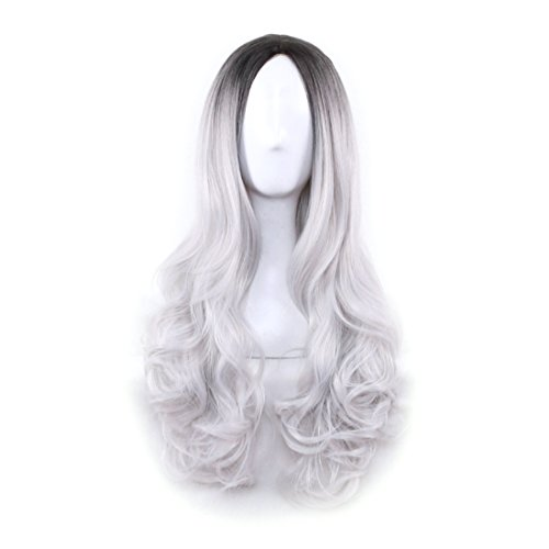 [Wigood 26 inch Cosplay Wig Ombre Grey Long Curly Hair with Dark Roots Wig with Free Wig Cap for Women(Ombre Grey)] (Grey Hair Costume Wig)