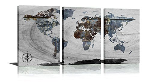 Black and White World Map Picture Art for Living Room Bedroom Home Decorations Gray Retro World Map Canvas Paintings Wall Art Poster Prints Ready to Hang (Black and White, 16x24inchx3pcs) (World Map Black And White High Resolution)