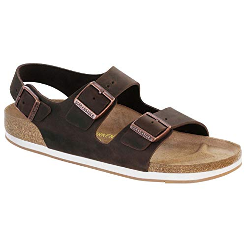 Birkenstock Unisex Milano Leather Sandals, Habana Brown, 40 ()