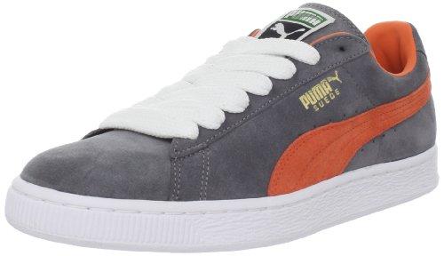 PUMA Unisex Suede Classic Sneaker,Steel Grey/Vermillion Orange,13.5 M US Women's/12 M US Men's