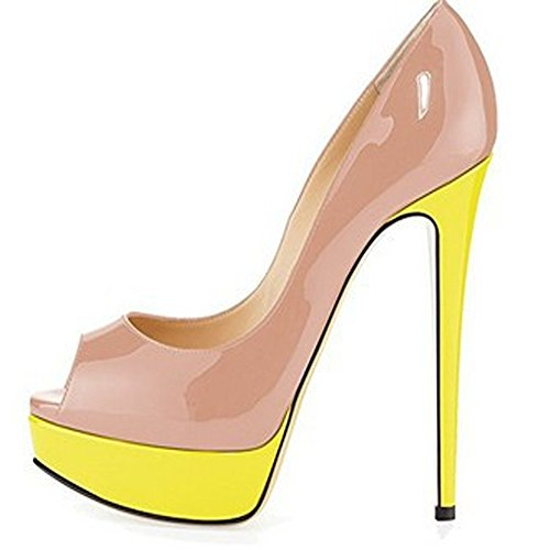 in Color Shoes Platform High 38 Heel Size Spring Summer Color Size GAOLIXIA Mouth Yellow Optional Heel High and Wedding Candy Plus Dress and Fish Women's Nude Evening Waterproof Ef0qZv6