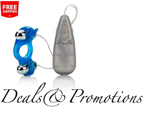 Diving Dolphin Dual Moving Bullet Massage Ring Wired Remote Control Toy for Couple ()